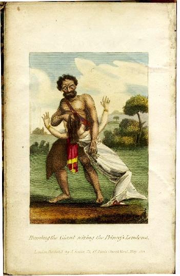 Humbug, o Gigante, raptando a Princesa Londona (gravura da obra citada).